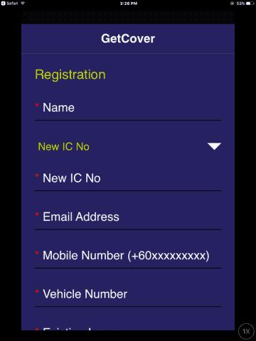 getcover registration screen 1