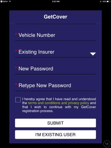 getcover registration screen 2