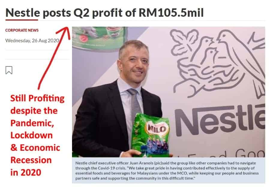 nestle consumer goods still profit despite recession